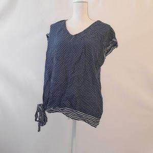 Fred David blue white polka dot blouse XL